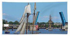 Lynx Topsail Schooner Bath Towel by Rodney Campbell