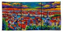 Lyon Panorama Triptych Hand Towel