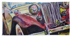 Bath Towel featuring the painting M G Car  by Anna Ruzsan
