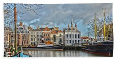 Bath Towel featuring the photograph Maassluis Harbour by Frans Blok