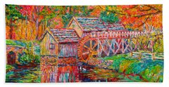 Bath Towel featuring the painting Mabry Mill In Fall by Kendall Kessler