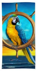 Macaw Pirate Parrot Hand Towel by Glenn Holbrook