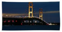 Mackinac Bridge At Dusk Bath Towel