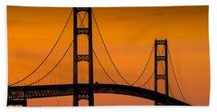 Mackinac Bridge Sunset Bath Towel