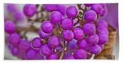 Macro Of Purple Beautyberries Callicarpa Plant Art Prints Bath Towel by Valerie Garner