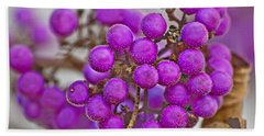 Bath Towel featuring the photograph Macro Of Purple Beautyberries Callicarpa Plant Art Prints by Valerie Garner
