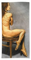 Hand Towel featuring the pastel Madame Brooke by Joseph Ogle