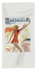 Mademoiselle Cover Featuring A Model At The Beach Bath Towel by Helen Jameson Hall