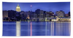 Bath Towel featuring the photograph Madison Skyline Reflection by Sebastian Musial