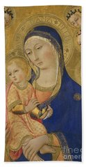 Madonna And Child With Saint Jerome Saint Bernardino And Angels Bath Towel
