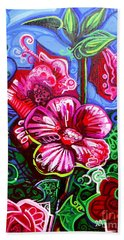 Magenta Fleur Symphonic Zoo I Hand Towel by Genevieve Esson