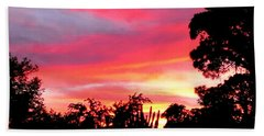 Hand Towel featuring the photograph Magenta Sunset by DigiArt Diaries by Vicky B Fuller