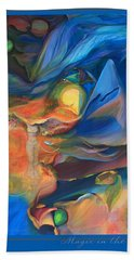 Bath Towel featuring the painting Magic In The Air - With Border And Title by Brooks Garten Hauschild