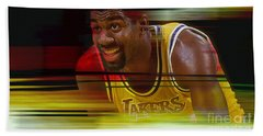 Magic Johnson Hand Towel by Marvin Blaine