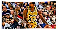 Magic Johnson Vs Clyde Drexler Hand Towel by Florian Rodarte