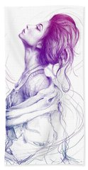 Purple Fashion Illustration Bath Towel