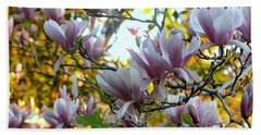 Hand Towel featuring the photograph Magnolia Maidens In A Border by Leanne Seymour