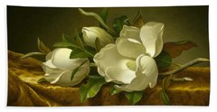 Magnolias On Gold Velvet Cloth Hand Towel