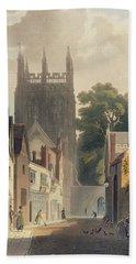 Magpie Lane, Oxford, Illustration Bath Towel