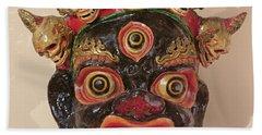 Mahakala Dance Mask Painted Wood Bath Towel