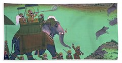 Maharana Sarup Singh Of Udaipur Shooting Boar From Elephant-back, Rajasthan, 1855  Hand Towel
