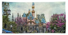 Main Street Sleeping Beauty Castle Disneyland Textured Sky Hand Towel