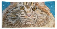 Hand Towel featuring the painting Maine Coon Cat by Kathy Marrs Chandler