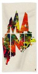 Maine Typographic Watercolor Map Bath Towel