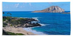 Makapuu Beach With Rabbit Island Hand Towel