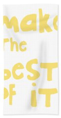 Make The Best Of It- Yellow And White Hand Towel