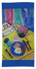 Hand Towel featuring the painting Makin' His Move by Diane Pape