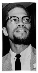 Malcolm X 1963 Hand Towel by Mountain Dreams