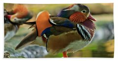 Bath Towel featuring the photograph Male Mandarin Duck On A Rock by Eti Reid
