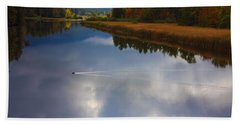 Bath Towel featuring the photograph Mallard Duck On Lake In Adirondack Mountains In Autumn by Jerry Cowart