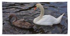 Mama And Baby Swan Hand Towel