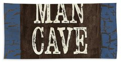 Man Cave Enter At Your Own Risk Hand Towel by Debbie DeWitt