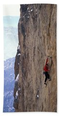 Man In A Red Shirt Lead Climbing Hand Towel