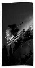 Man Jumping On Skis Hand Towel