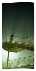 Hand Towel featuring the photograph Man On Stairs With Case In Fog by Lee Avison