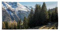 Man Trail Running In The Mountains Hand Towel
