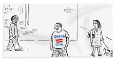 Man Wearing An Obama 2016 T Shirt Bath Towel