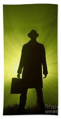Hand Towel featuring the photograph Man With Case In Green Light by Lee Avison