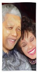 Bath Towel featuring the painting Mandela And Whitney by Vannetta Ferguson