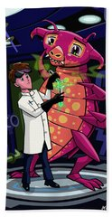 Bath Towel featuring the digital art Manga Professor With Nice Pink Monster Experiment by Martin Davey
