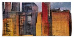 Beautiful City Manhattan Digital Painting Hand Towel