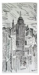 Hand Towel featuring the drawing Manhattan by Janice Rae Pariza