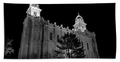 Manti Temple Black And White Hand Towel by David Andersen