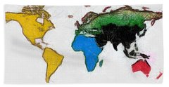 Map Digital Art World Hand Towel