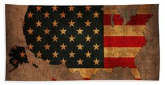 Map Of America United States Usa With Flag Art On Distressed Worn Canvas Bath Towel