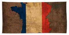 Map Of France With Flag Art On Distressed Worn Canvas Hand Towel